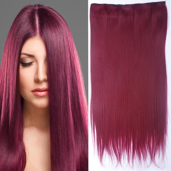 Clip in vlasy - 60 cm dlouhý pás vlasů - odstín - BURG (intenzivně tmavě červená)