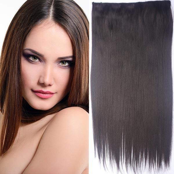 Clip in vlasy - 60 cm dlouhý pás vlasů - odstín - 6 (hnědá)