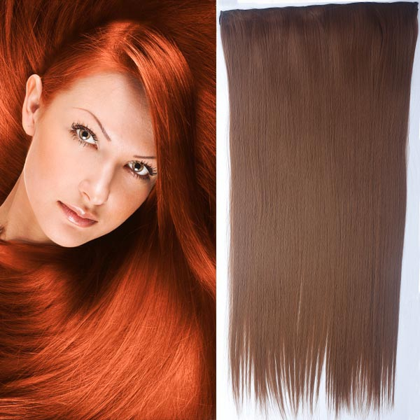 Clip in vlasy - 60 cm dlouhý pás vlasů - odstín 30 - kaštanová - 30 (světlý kaštan)