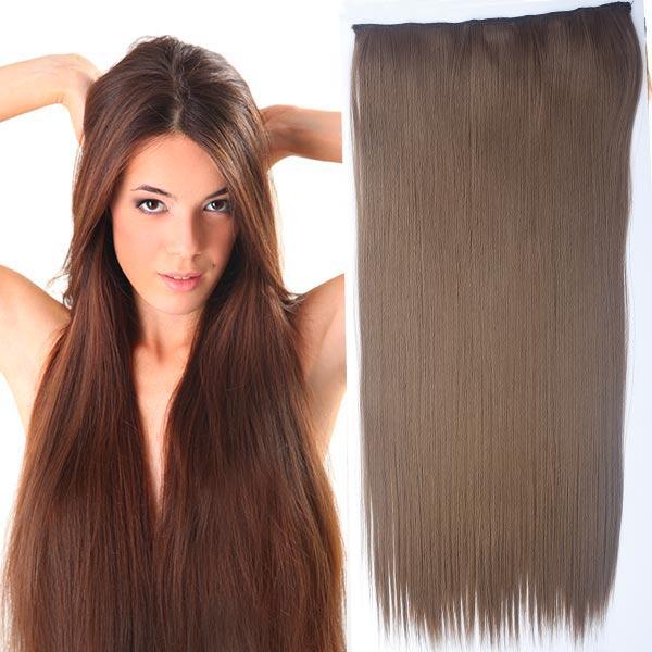 Clip in vlasy - 60 cm dlouhý pás vlasů - odstín 12 - světle hnědá