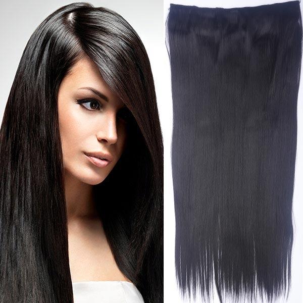 Clip in vlasy - 60 cm dlouhý pás vlasů - odstín 2 - černohnědá