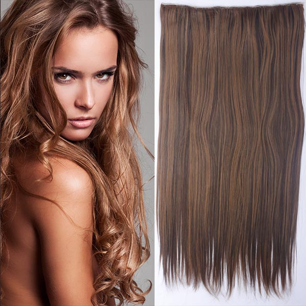 Clip in vlasy - 60 cm dlouhý pás vlasů - odstín - F4/27 (melír čokoládově hnědé v karamelové)