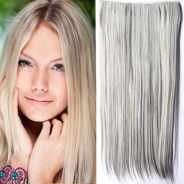 Clip in vlasy - 60 cm dlouhý pás vlasů - odstín - F6/613 (melír tmavě plavé v beach blond)