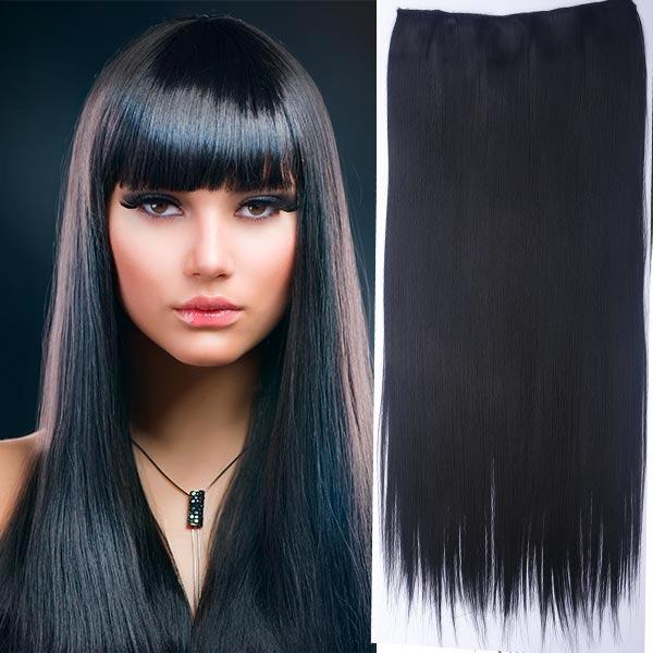 Clip in vlasy - 60 cm dlouhý pás vlasů - odstín - 1B (černá)