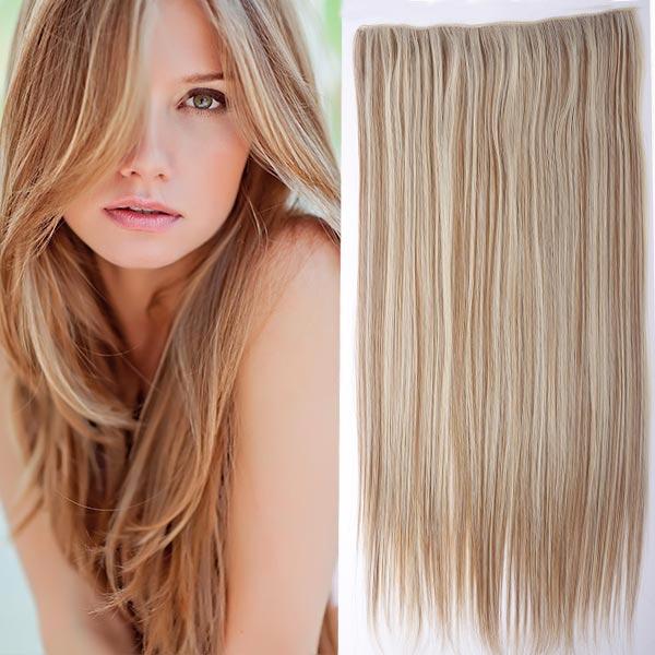 Clip in vlasy - 60 cm dlouhý pás vlasů - odstín - F27/613 (melír karamelové v beach blond)