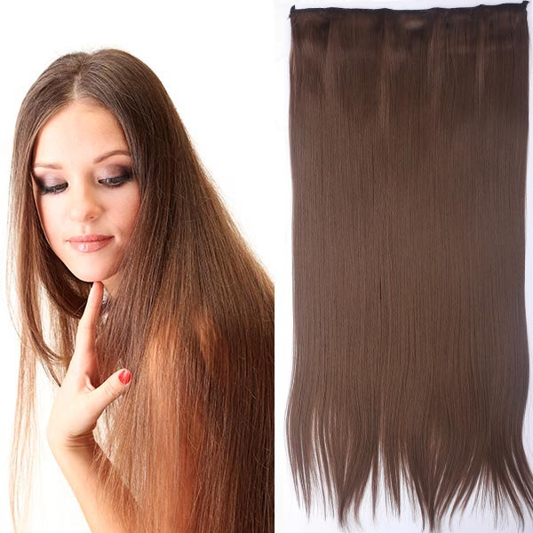 Clip in vlasy - 60 cm dlouhý pás vlasů - odstín 10 - hnědá