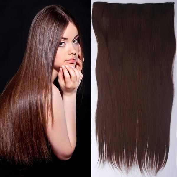 Clip in vlasy - 60 cm dlouhý pás vlasů - odstín - M 4/30 (mix čokoládově hnědá/světlý kaštan)