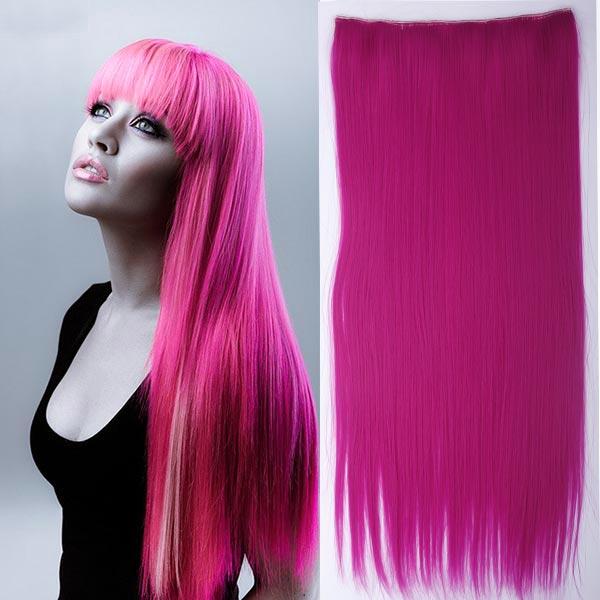 Clip in vlasy - 60 cm dlouhý pás vlasů - růžová ROSE PINK