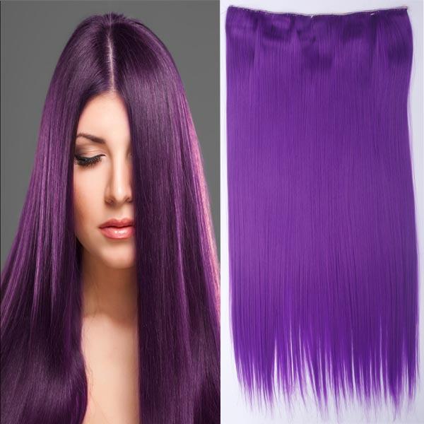 Clip in vlasy - 60 cm dlouhý pás vlasů - PURPUROVÁ