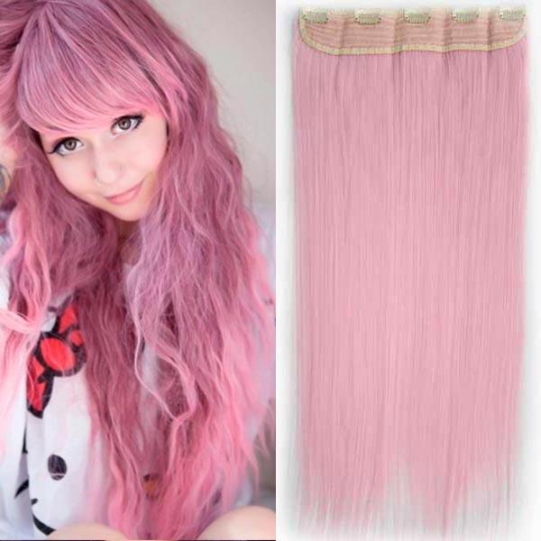 Clip in vlasy - 60 cm dlouhý pás vlasů - světle růžová