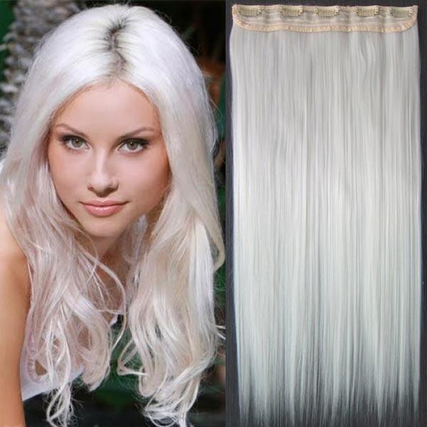 Clip in vlasy - 60 cm dlouhý pás vlasů - SNĚHOVĚ BÍLÁ - odstín bílý
