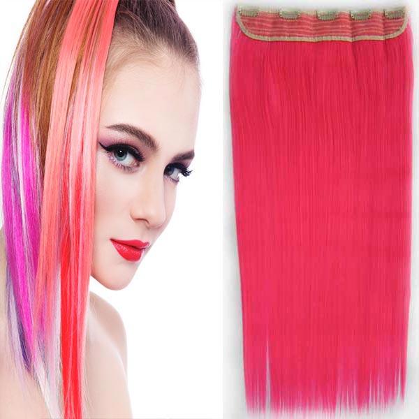 Clip in vlasy - 60 cm dlouhý pás vlasů - růžová PINK - odstín Pink