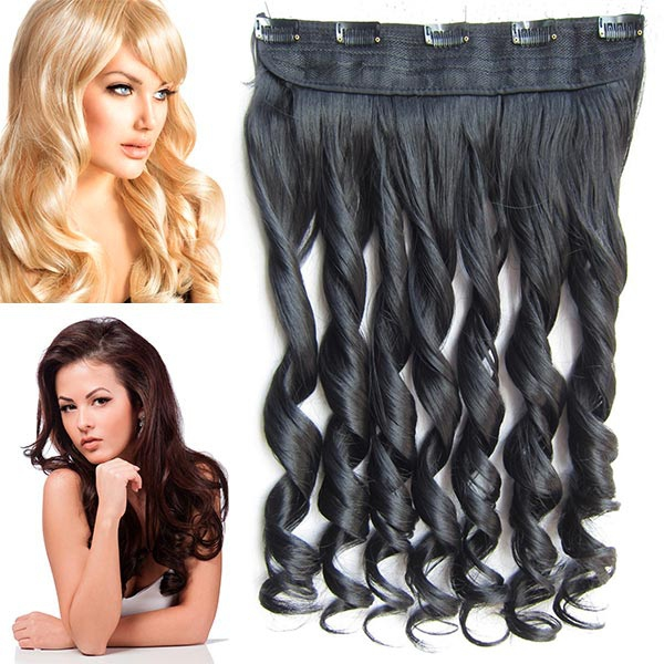 Clip in pás vlasů - lokny 55 cm - odstín 1B - černá