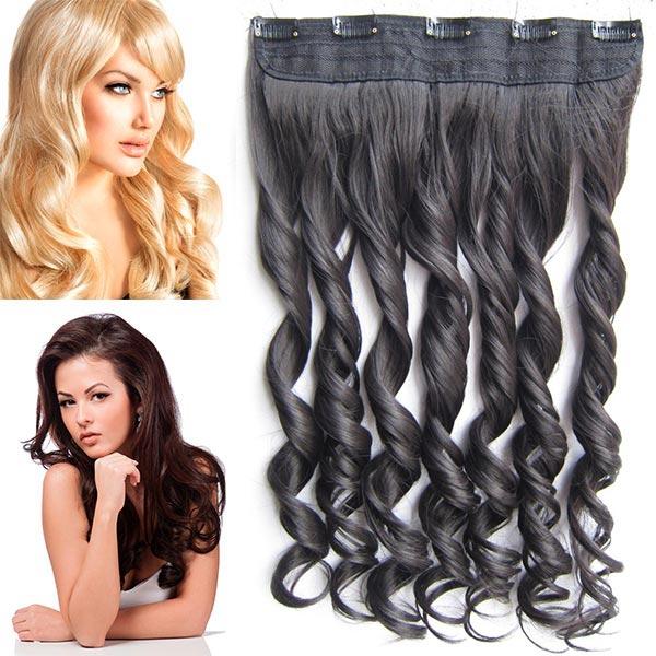 Clip in pás vlasů - vlnité lokny 55 cm - odstín - 2 (tmavě hnědá pralinka)