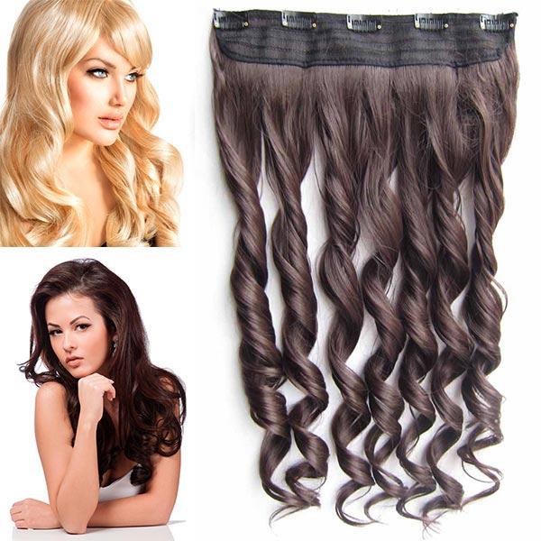 Clip in pás vlasů - vlnité lokny 55 cm - odstín - 4 (čokoládově hnědá)