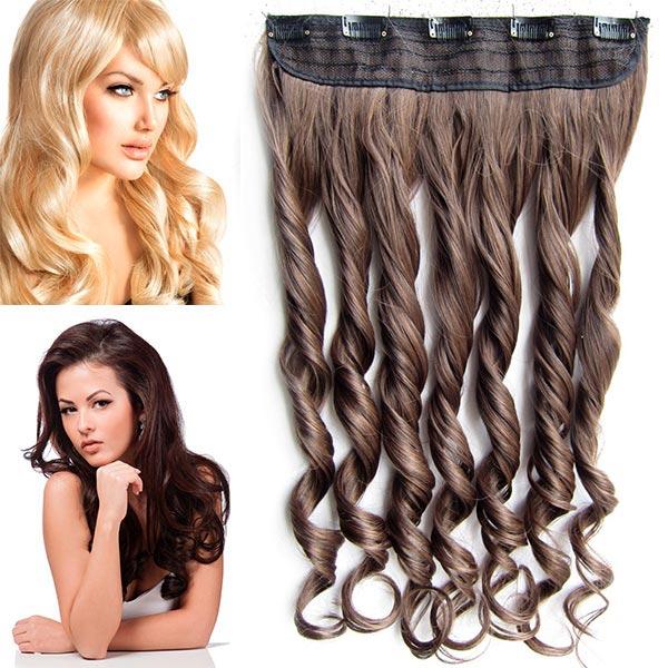 Clip in pás vlasů - vlnité lokny 55 cm - odstín - M2/30 (mix tmavá pralinka/světlý kaštan)