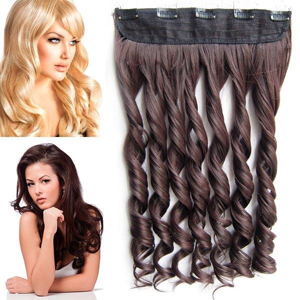 Clip in pás vlasů - vlnité lokny 55 cm - odstín - M2/33 (mix tmavá pralinka/tmavý kaštan)