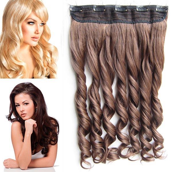 Clip in pás vlasů - vlnité lokny 55 cm - odstín - M 4/30 (mix čokoládově hnědá/světlý kaštan)