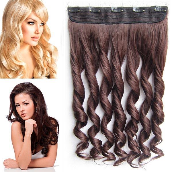 Clip in pás vlasů - vlnité lokny 55 cm - odstín - M4/33 (mix čokoládově hnědá/tmavý kaštan)