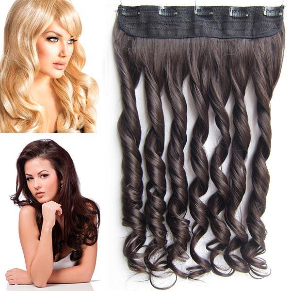 Clip in pás vlasů - vlnité lokny 55 cm - odstín - 6 (hnědá)