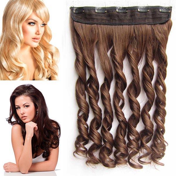 Clip in pás vlasů - vlnité lokny 55 cm - odstín - 8 (světle hnědá)
