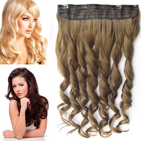 Clip in pás vlasů - vlnité lokny 55 cm - odstín - 6P (tmavě plavá)