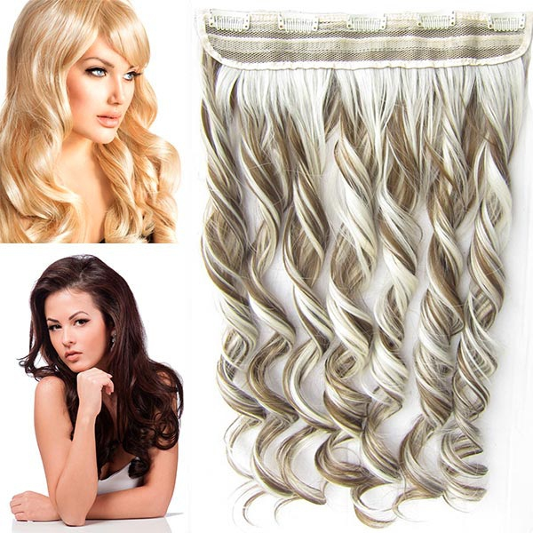 Clip in pás vlasů - vlnité lokny 55 cm - odstín - F6P/613 (melír středně hnědé v beach blond)