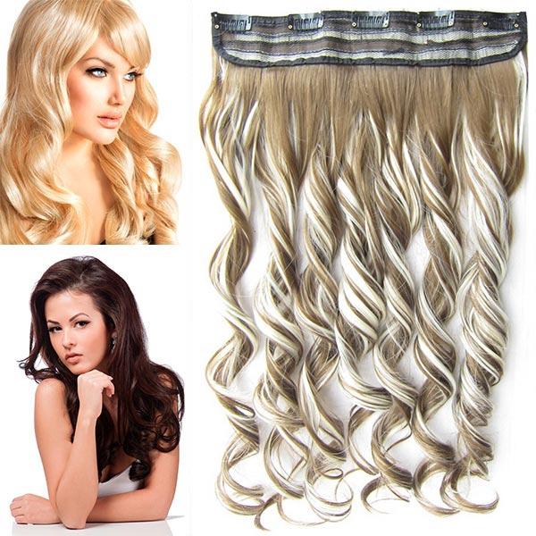 Clip in pás vlasů - vlnité lokny 55 cm - odstín - F613/6P (melír beach blond ve středně hnědé)