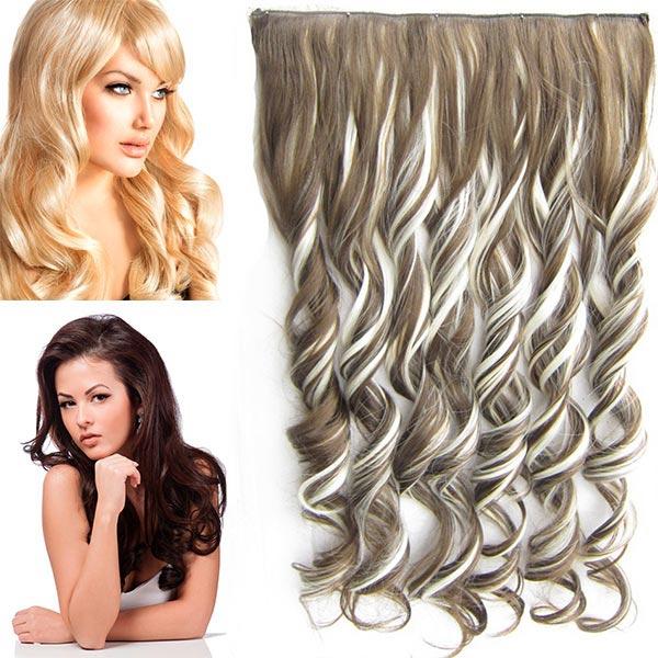 Clip in pás vlasů - vlnité lokny 55 cm - odstín - F613/9 (melír beach blond v temně plavé)