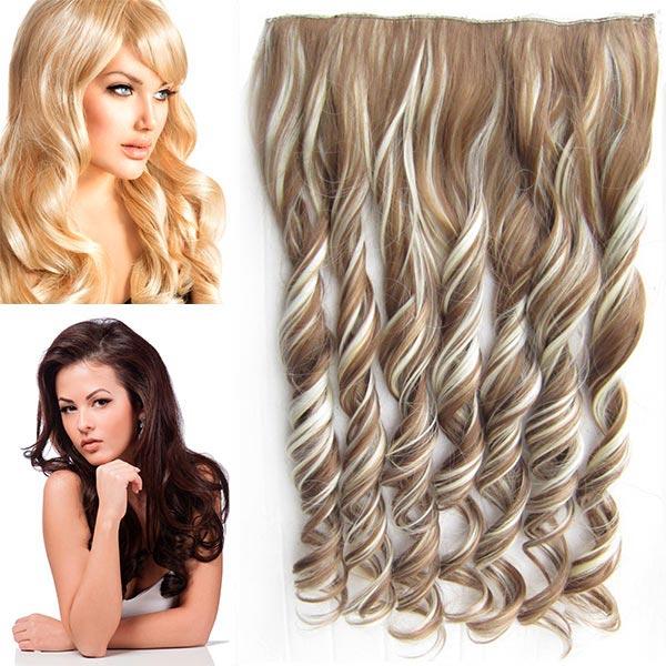 Clip in pás vlasů - vlnité lokny 55 cm - odstín - F613/12 (melír beach blond v karamelově hnědé)