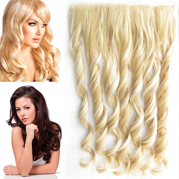 Clip in pás vlasů - vlnité lokny 55 cm - odstín - F613/22 (melír beach blond ve světle plavé)