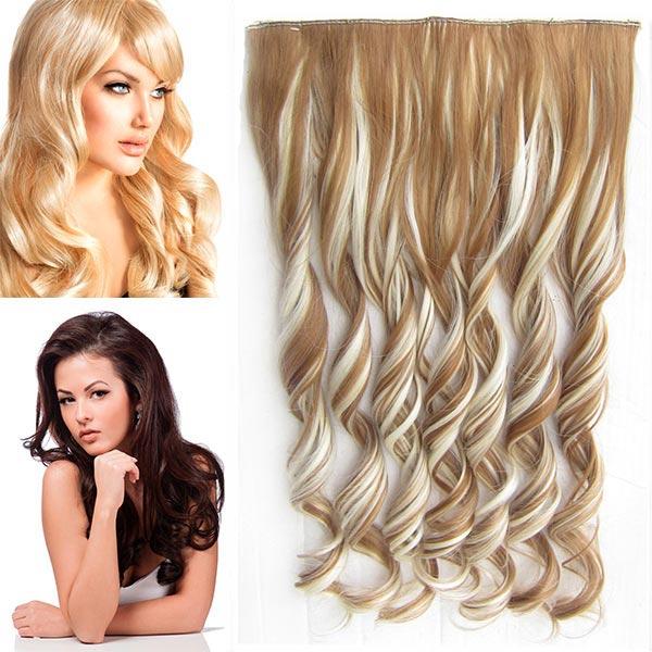 Clip in pás vlasů - vlnité lokny 55 cm - odstín - F613/27 (melír beach blond v karamelové)