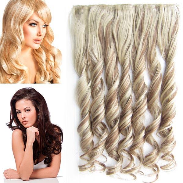Clip in pás vlasů - vlnité lokny 55 cm - odstín - F12/24 (melír karamelově hnědé v platin. plavé)