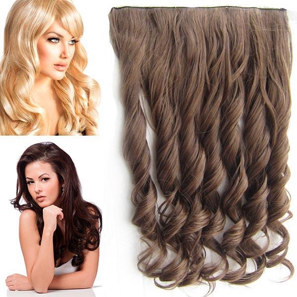 Clip in pás vlasů - vlnité lokny 55 cm - odstín - M4/27 (mix čokoládově hnědá/karamel)