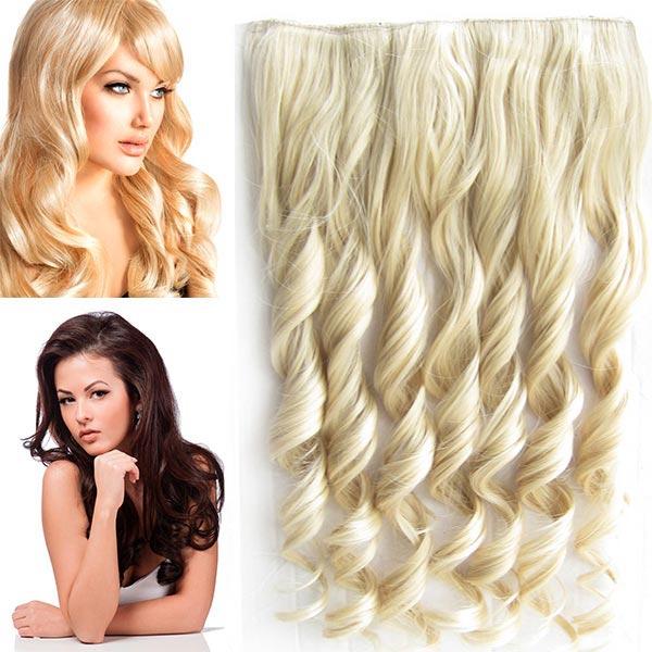 Clip in pás vlasů - vlnité lokny 55 cm - odstín - M22/613 ( mix světle plavá/beach blond)