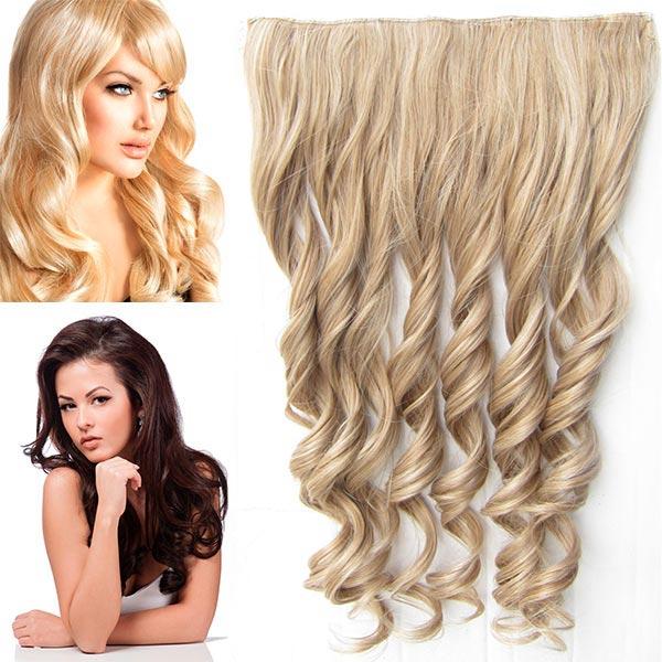 Clip in pás vlasů - vlnité lokny 55 cm - odstín - M27/613 (mix karamelová/beach blond)
