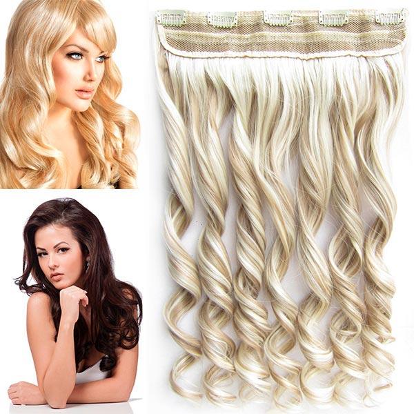 Clip in pás vlasů - vlnité lokny 55 cm - odstín - F16/613 (melír pastelově plavé v beach blond)