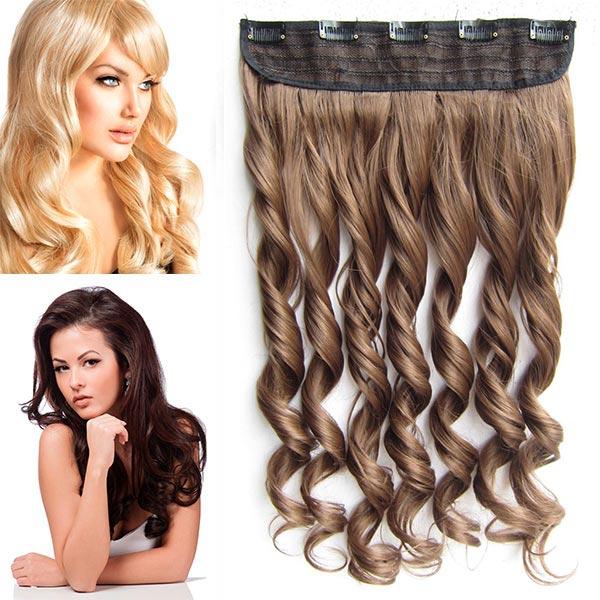 Clip in pás vlasů - vlnité lokny 55 cm - odstín - 10 (medově hnědá)