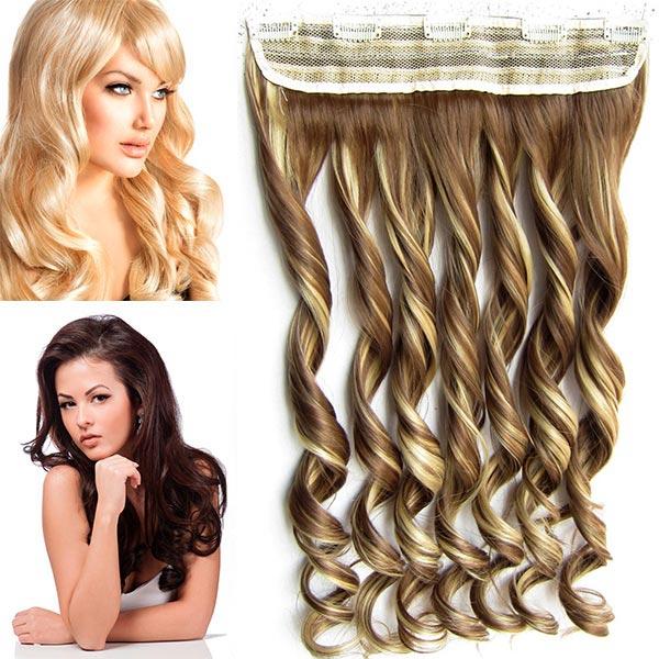 Clip in pás vlasů - vlnité lokny 55 cm - odstín - F10/22 (melír medově hnědé ve světle plavé)