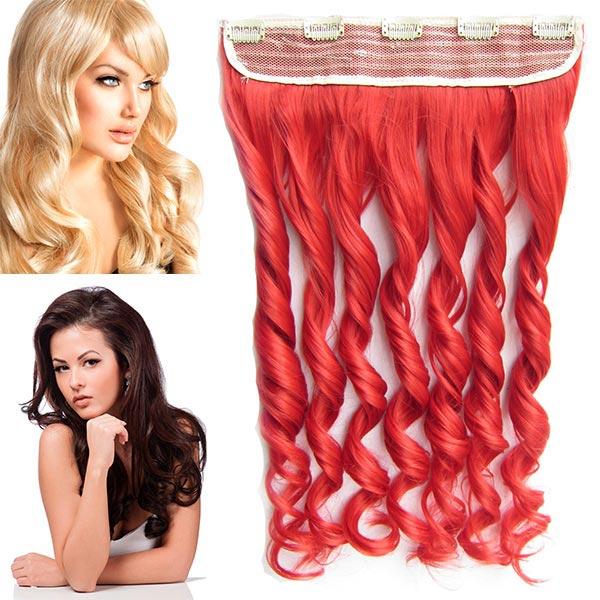 Clip in pás vlasů - lokny 55 cm - odstín - ČERVENÁ