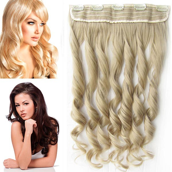 Clip in pás vlasů - vlnité lokny 55 cm - odstín - 24 (platinově plavá)