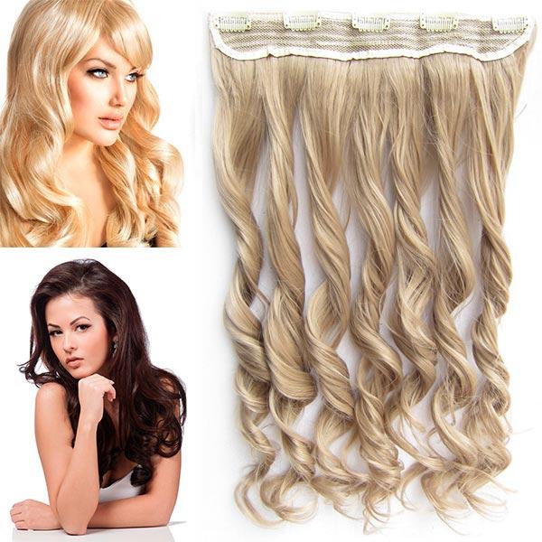 Clip in pás vlasů - vlnité lokny 55 cm - odstín - 16 (pastelově plavá)