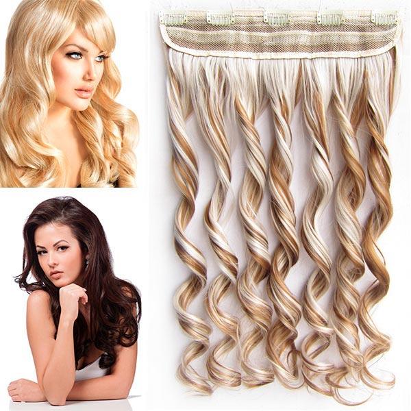 Clip in pás vlasů - vlnité lokny 55 cm - odstín - F27/60 (melír karamelové v ledové blond)