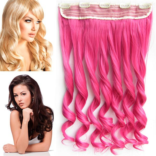 Clip in pás vlasů - vlnité lokny 55 cm - odstín Peach Pink