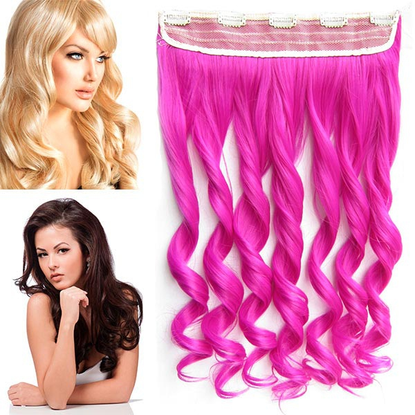 Clip in pás vlasů - vlnité lokny 55 cm - odstín Rose Pink