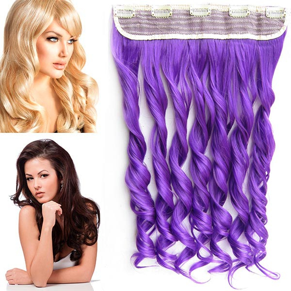 Clip in pás vlasů - vlnité lokny 55 cm - odstín Purple