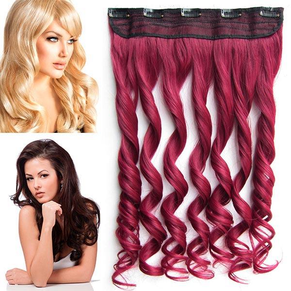 Clip in pás vlasů - vlnité lokny 55 cm - odstín - BURG (intenzivně tmavě červená)