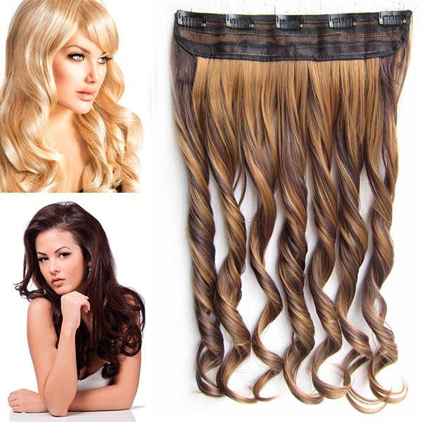 Clip in pás vlasů - vlnité lokny 55 cm - odstín - F4/27 (melír čokoládově hnědé v karamelové)