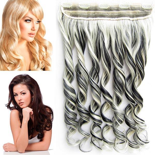 Clip in pás vlasů - vlnité lokny 55 cm - odstín 1B/613
