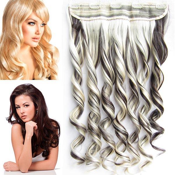 Clip in pás vlasů - vlnité lokny 55 cm - odstín - F6/613 (melír tmavě plavé v beach blond)